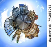 tiny planet with skyline of... | Shutterstock . vector #791855068
