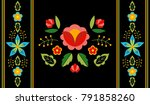 polish folk pattern vector.... | Shutterstock .eps vector #791858260