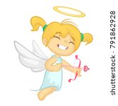 funny cupid girl aiming at... | Shutterstock .eps vector #791862928