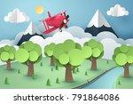 paper art of pink plane flying... | Shutterstock .eps vector #791864086