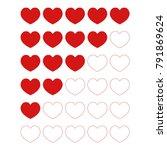 5 red hearts rating  vector... | Shutterstock .eps vector #791869624