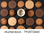 cup of coffee among pattern of... | Shutterstock . vector #791872660