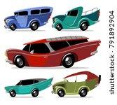 cartoon fancy retro racing... | Shutterstock .eps vector #791892904