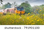 train and flowers at lopburi ... | Shutterstock . vector #791901100