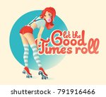 pin up poster with beautiful... | Shutterstock .eps vector #791916466