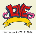love with hearts drawing banner....   Shutterstock .eps vector #791917804