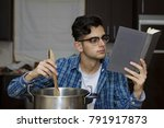 learning to cook with cookbook... | Shutterstock . vector #791917873