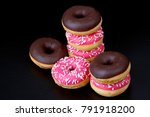 a very tasty donuts on the black | Shutterstock . vector #791918200