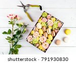 box with flowers and macaroons  ... | Shutterstock . vector #791930830