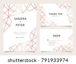 marble wedding invitations set  ... | Shutterstock .eps vector #791933974