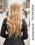 female long wavy blonde hair ... | Shutterstock . vector #791942404