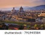 panoramic view of florence city ...   Shutterstock . vector #791945584