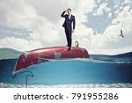 businessman on boat upside down ... | Shutterstock . vector #791955286