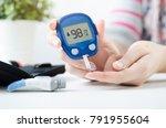diabetes checking blood sugar... | Shutterstock . vector #791955604
