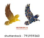 eagle vector icon gold....   Shutterstock .eps vector #791959360