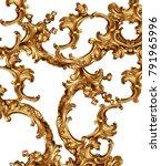 golden baroque background  | Shutterstock . vector #791965996