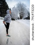 young female adult jogging at... | Shutterstock . vector #791973220
