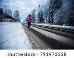 blondie female running outside... | Shutterstock . vector #791973238