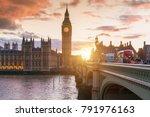 big ben clock tower and... | Shutterstock . vector #791976163
