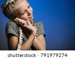 sweet young girl with blond... | Shutterstock . vector #791979274