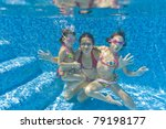 Underwater Family In Swimming...