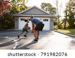 father and son playing... | Shutterstock . vector #791982076