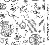 seamless pattern with globe ... | Shutterstock .eps vector #791985490