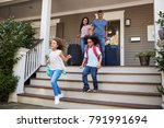 family with luggage leaving...   Shutterstock . vector #791991694