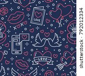 valentines day seamless pattern.... | Shutterstock .eps vector #792012334