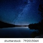 lake at night with amazing... | Shutterstock . vector #792015064