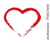 brush drawing calligraphy heart ... | Shutterstock .eps vector #792017650
