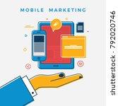 mobile marketing design concept.... | Shutterstock .eps vector #792020746