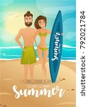 surfer couple at the beach...   Shutterstock .eps vector #792021784