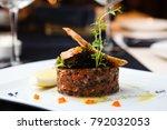 salmon tartar with red caviar... | Shutterstock . vector #792032053
