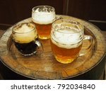 three glasses of czech beer...   Shutterstock . vector #792034840