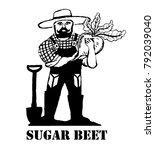 sugar beet. the farmer is... | Shutterstock .eps vector #792039040