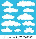 clouds in blue sky set vector... | Shutterstock .eps vector #792047539
