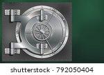 a huge metal round safe door.... | Shutterstock .eps vector #792050404