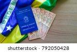 brazilian work permit with... | Shutterstock . vector #792050428