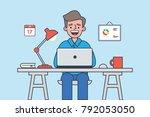 freelancer work space. man work ... | Shutterstock .eps vector #792053050