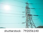 electricity post high power on... | Shutterstock . vector #792056140