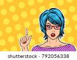 pop art kitsch woman points... | Shutterstock .eps vector #792056338