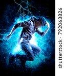 young man break dancing on...   Shutterstock . vector #792063826