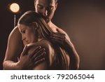 tender boyfriend hugging naked...   Shutterstock . vector #792065044
