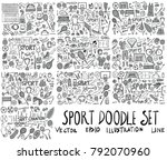 set of sport hand drawn doodle... | Shutterstock .eps vector #792070960