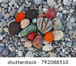 pile of colorful sea pebble... | Shutterstock . vector #792088510