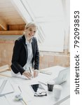 young  pretty  blonde architect ... | Shutterstock . vector #792093853