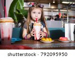 adorable little girl with... | Shutterstock . vector #792095950