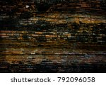 the ancient wall of thai temple | Shutterstock . vector #792096058