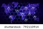world map with glowing dots and ...   Shutterstock . vector #792110914